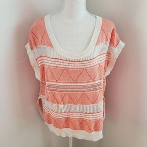 Bebe Coral And White Knit Poncho Top